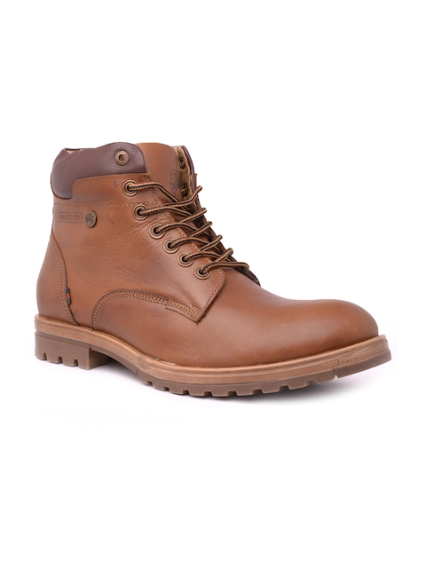 Buckaroo Men Tan Brown Solid Leather High-Top Flat Boots