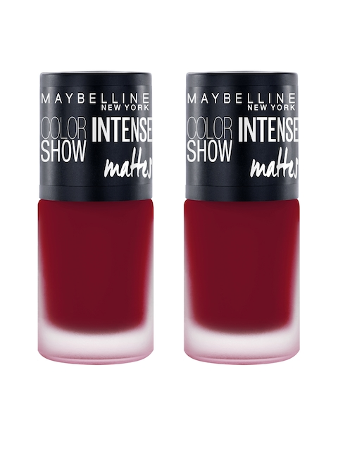 Maybelline Set of 2 New York Color Show Magnetic Maroon Intense Matte Nail Paint