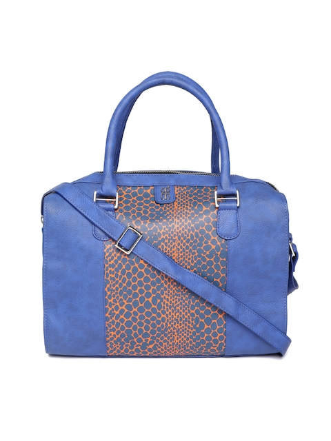 Baggit Blue & Orange Snakeskin Printed Handheld Bag