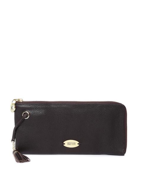 Hidesign Women Brown Solid Zip Around Leather Wallet
