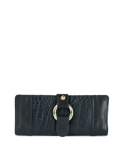 Hidesign Women Blue Animal Textured Two Fold Wallet