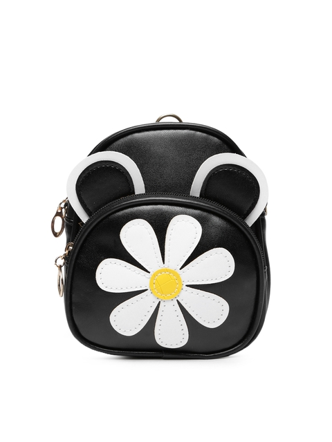 Lil Star Girls Black Solid Backpack-cum-Sling Bag