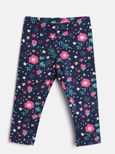 Losan Girls Navy Blue & Pink Printed Leggings