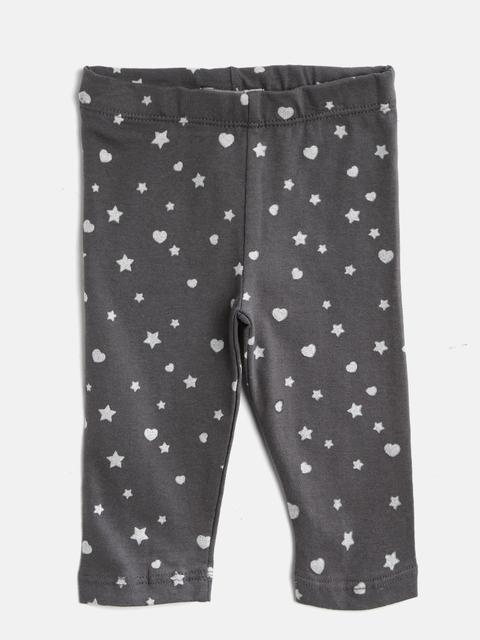 Losan Girls Charcoal Grey Printed Ankle Length Leggings