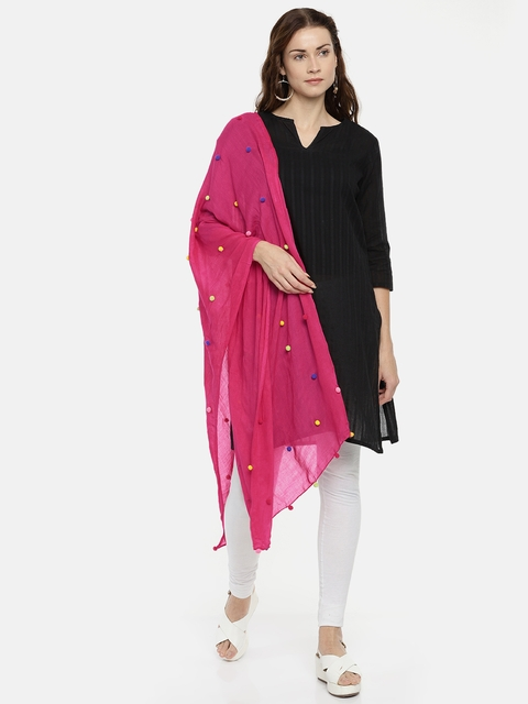 Ayesha Women Pink Solid Scarf