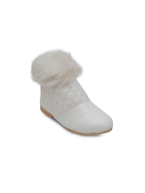DChica Girls White Quilted Flat Boots
