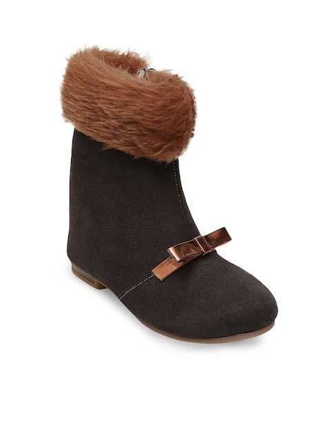 DChica Girls Brown Solid Suede High-Top Flat Boots