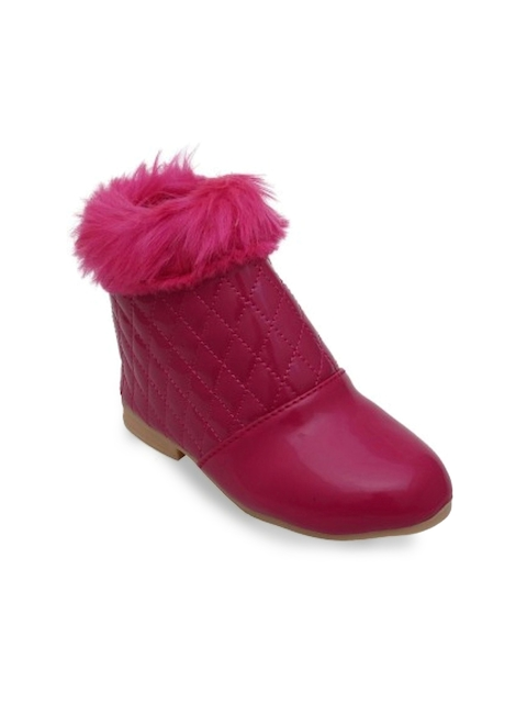 DChica Girls Pink Quilted Flat Boots
