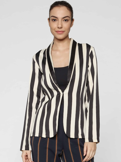 ONLY Women Black & Cream-Coloured Striped Regular Fit Casual Blazer