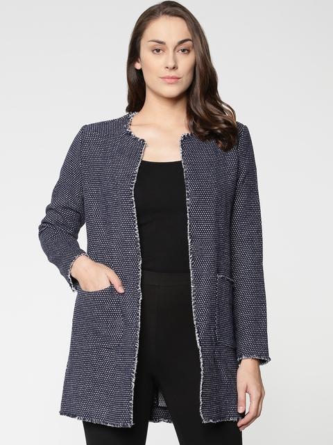 ONLY Women Navy Blue Self-Design Open-Front Overcoat