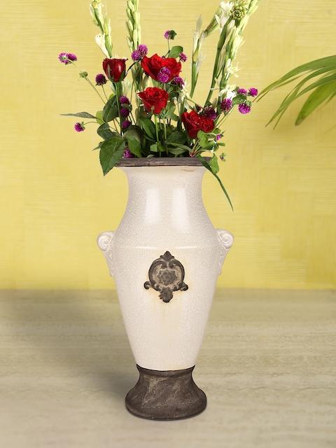 HOSLEY Cream-Coloured & Brown Colourblocked Ceramic Vase