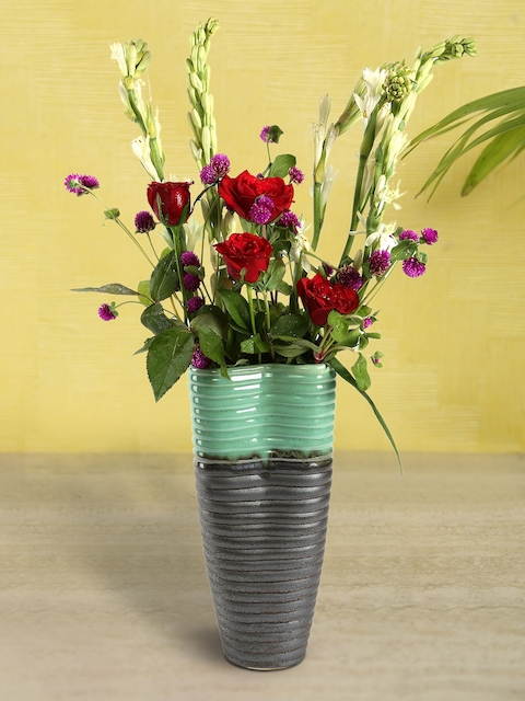 HOSLEY Green & Grey Colourblocked Ceramic Vase