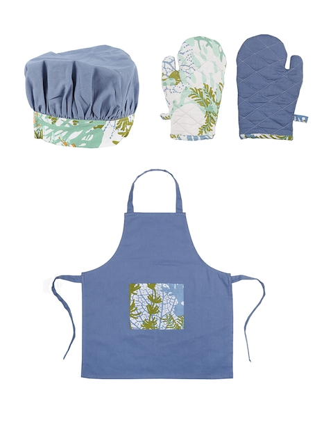 House This The Great Barrier Reef Set of 4 Blue Printed Cotton Kitchen Linen Set