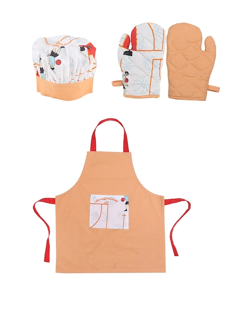House This The Springfield Court Set of 4 Orange Printed Cotton Kitchen Linen Set