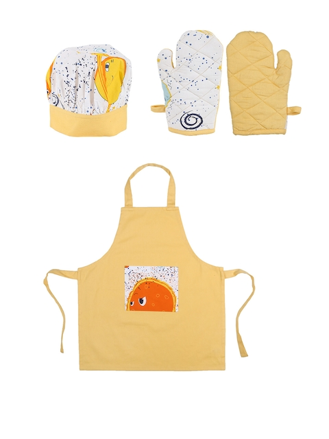 House This The Solar System Set of 4 Orange Printed Cotton Kitchen Linen Set