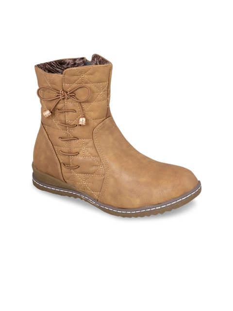 MSC Women Beige Solid Mid-Top Flat Boots