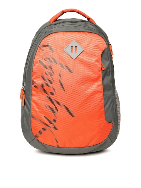 Skybags Unisex Orange & Charcoal Grey Brand Logo Backpack