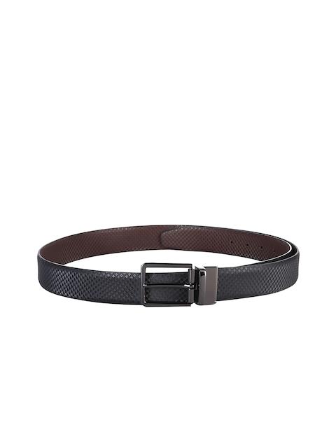 Second SKIN Men Black & Brown Reversible Genuine Leather Textured Belt