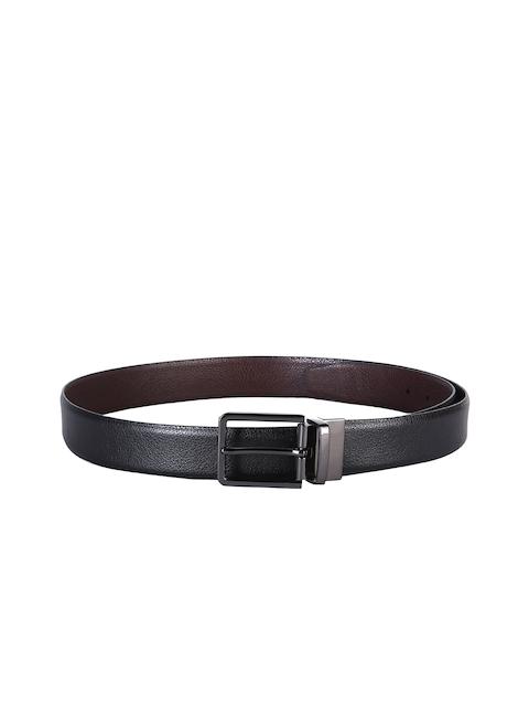 Second SKIN Men Black & Brown Textured Leather Reversible Belt