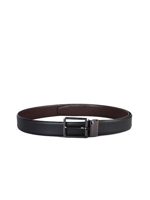 Second SKIN Men Black & Brown Textured Reversible Leather Belt