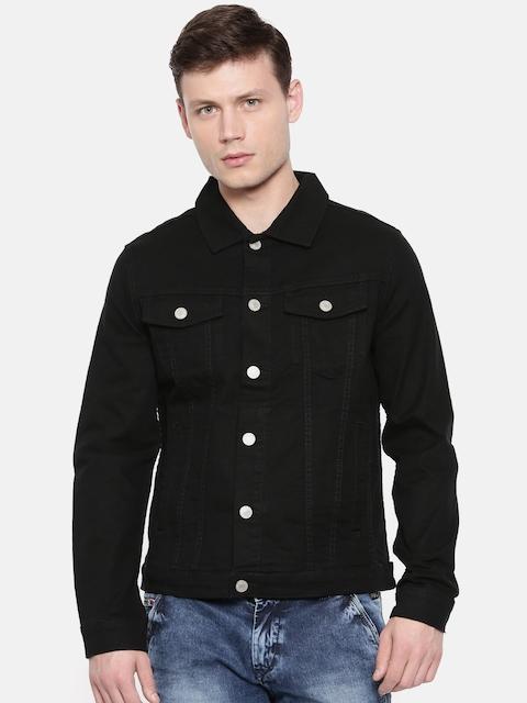 Jack & Jones Men Black Solid Denim Jacket