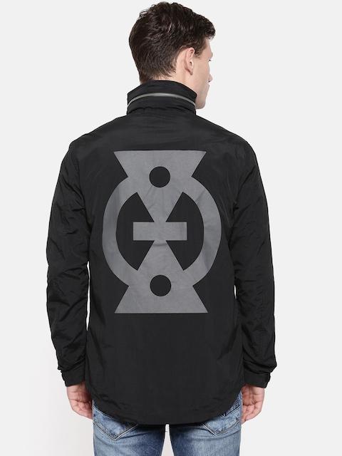 Jack & Jones Men Black Hooded Printed Tailored Jacket