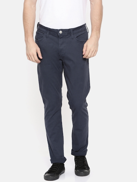 Jack & Jones Men Blue Slim Fit Solid Chinos