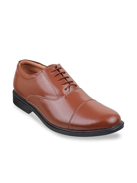 Mochi Men Tan Leather Oxford Shoes