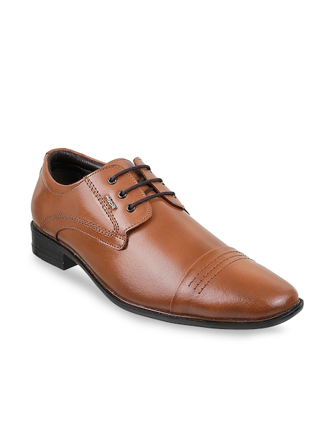 Mochi Men Tan Brown Solid Leather Formal Derbys