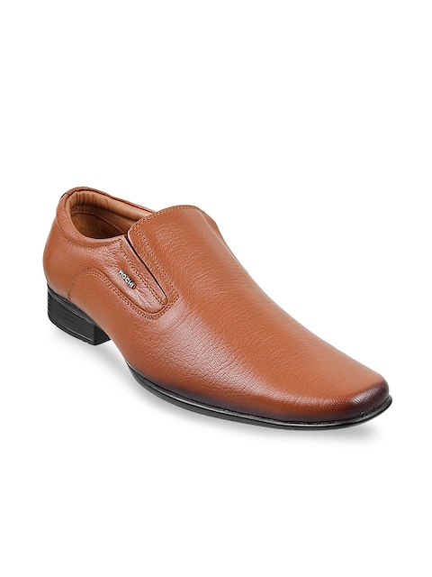Mochi Men Tan Brown Leather Formal Slip-Ons