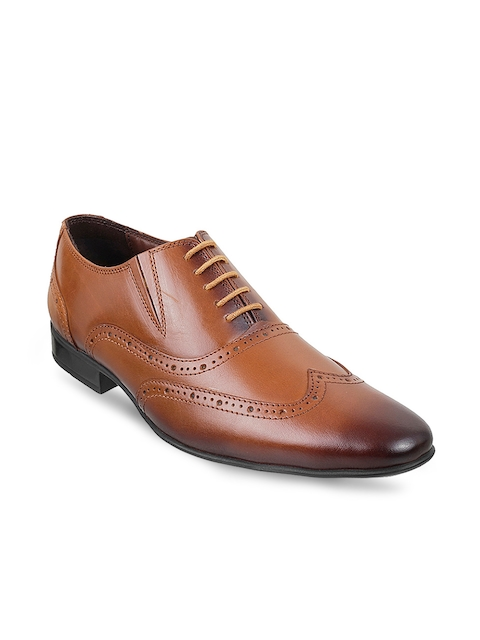 Mochi Men Tan Brown Leather Brogues
