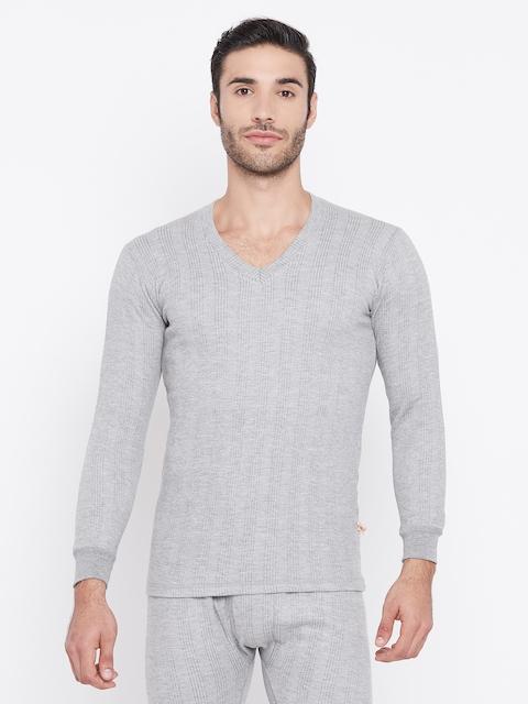 VIMAL JONNEY Men Grey Striped Thermal Top