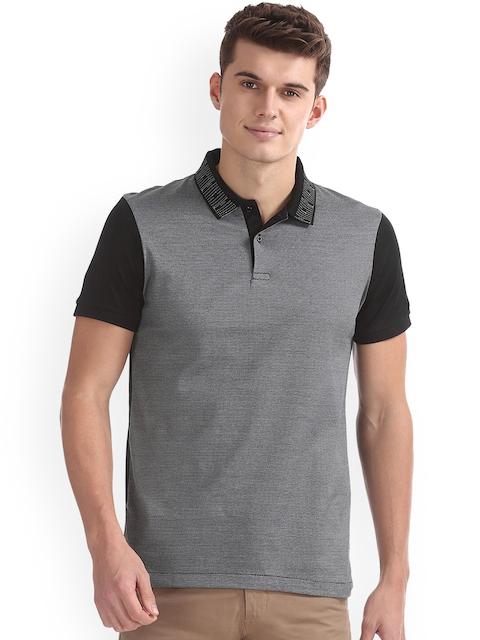 Arrow New York Men Black Self Design Polo Collar T-shirt