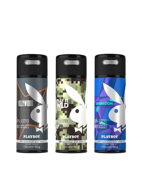 Playboy Men Set of 3 Hollywood + Wild + Generation Fragrance Gift Set