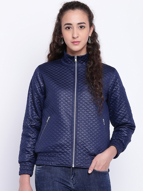 Texco Women Navy Blue Self Design Insulator Quilted Jacket