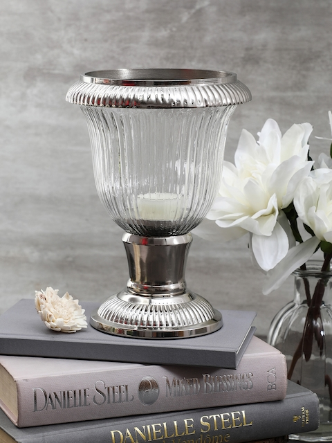 Pure Home and Living Transparent & Silver-Toned Angel Candle Holder