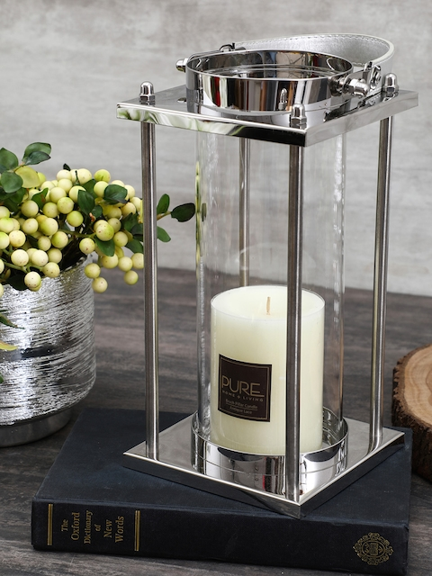 Pure Home and Living Transparent & Silver-Toned Candle Holder