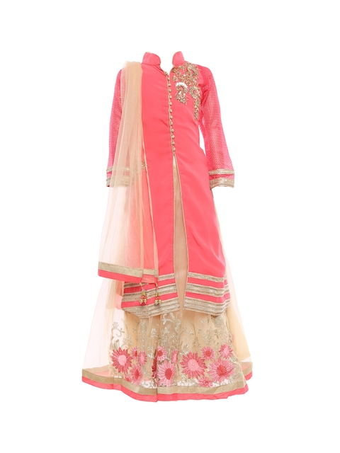 BETTY Girls Coral & Cream-Coloured Embellished Semi-Stitched Lehenga & Unstitched Blouse with Dupatta