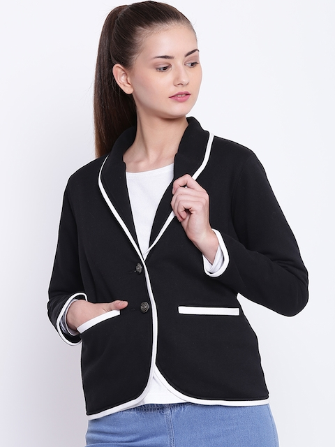 Texco Women Black Casual Single-Breasted Blazer