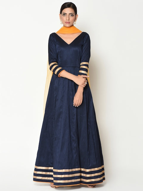 trueBrowns Women Navy Blue Solid Maxi Dress With Dupatta