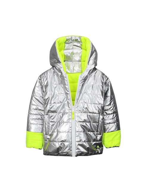 Cherry Crumble Kids Silver-Coloured Colourblocked Reversible Padded Jacket