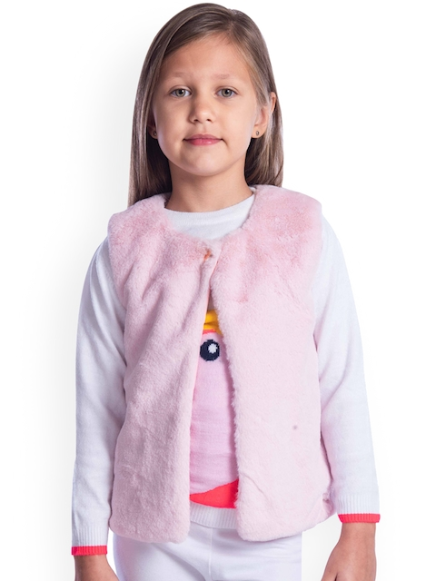 Cherry Crumble Unisex Pink Solid Open Front Jacket