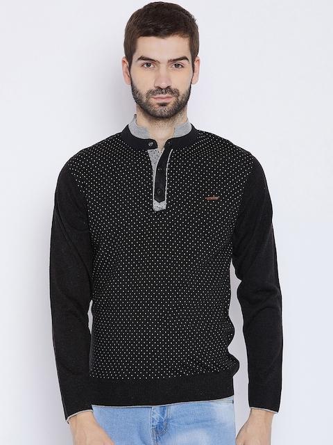 Duke Men Black Printed Woollen Sweater