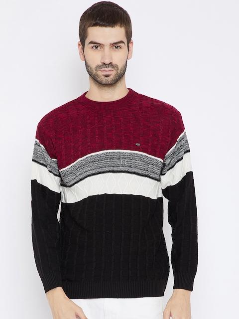 Duke Men Black & Maroon Colourblocked Woollen Pullover