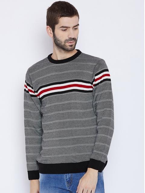 Duke Men Black Striped Pullover
