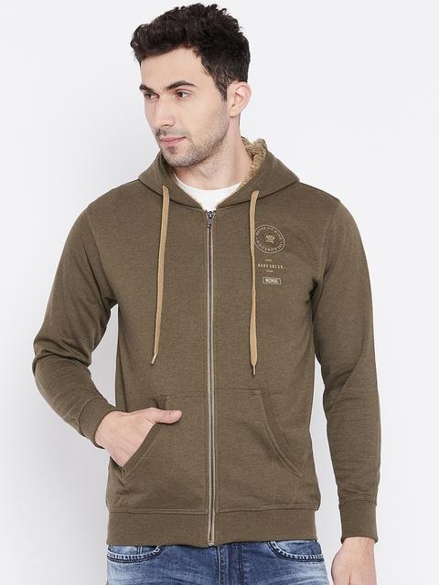 Duke Men Brown Solid Hooded Sweatshirt