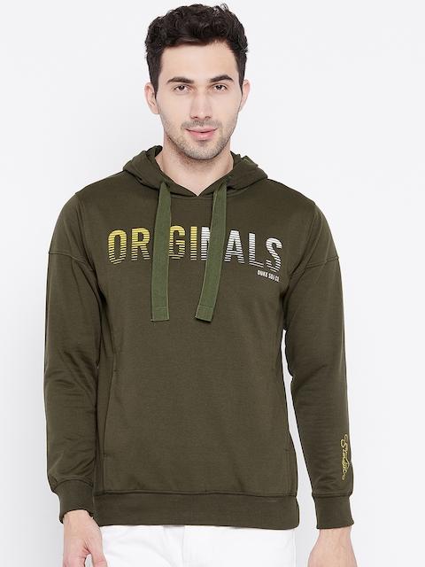 Duke Men Olive Green Printed Hooded Sweatshirt