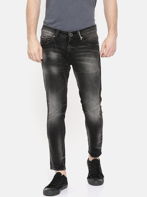 SPYKAR Men Black Kano Slim Fit Fit Low-Rise Clean Look Stretchable Ankle Length Jeans