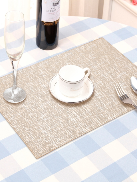 OBSESSIONS Set Of 6 Beige Textured Table Mats
