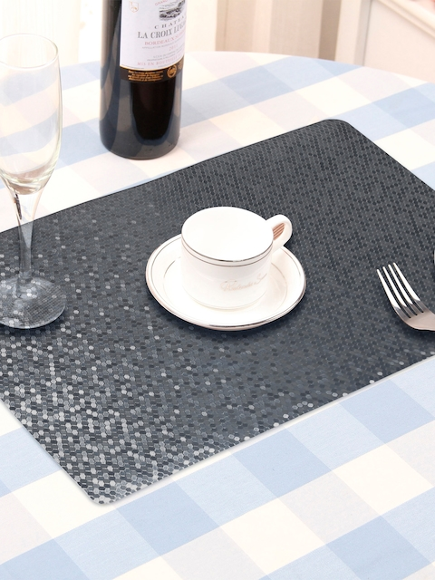 OBSESSIONS Set Of 6 Black Textured Table Mats